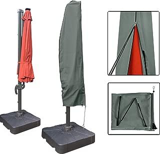 Aok Garden Outdoor Offset Patio Umbrella Covers Waterproof for 8 to 11 FT Umbrella,Grey,Oxford Fabric