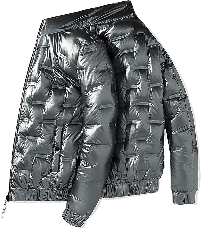 LZJDS Men's Winter Stand Up Collar Down Puffer Cotton Jacket Thicken Zipper Parka Outwear Coat