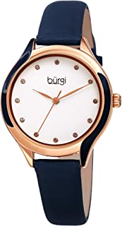 Burgi Swarovski Crystal Lined Women's Watch - with Genuine Leather Skinny Strap, Enamel Swirl Bezel 12 Matching Swarovski Markers - BUR248
