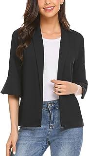 Pinspark - Blazer da donna con maniche a 3/4, casual, vestibilità aderente, da lavoro, ufficio