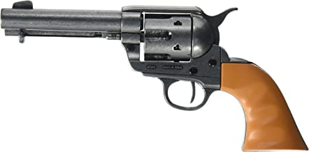 Denix Old West M1873 Quick Draw Revolver with Auburn Finger Grooved Grips Non-Firing Replica Gun, Antique Finish
