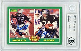 Marcus Allen Bo Jackson 1989 Score Great Combos Autograph Card #284 - BAS - Beckett Authentication - Football Slabbed Autographed Rookie Cards