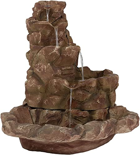 high quality Sunnydaze Stone Springs Rock Waterfall Fountain with discount LED Lights - Large Yard Waterfall Fountain & Patio Water Fountain - high quality 41 Inch Tall outlet sale