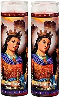 Set of 2 St Barbara Prayer Candles 2 Veladoras De Santa Barbara