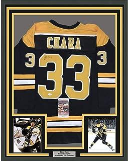 Framed Autographed/Signed Zdeno Chara 33x42 Boston Black Hockey Jersey JSA COA