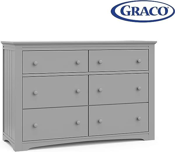 Storkcraft 03706 10F Graco Hadley 6 Drawer Pebble Gray Dresser