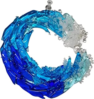 guizhoujiufu Garden Decor Weathervanes Fused Glass Ocean Suncatcher Ornament Glass Wave Sun Catcher Acrylic Wind Chimes Ou...