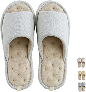 Women Men's Home Slippers Memory Foam Washable Cotton Linen Open Toe Indoor House Flax Soft Non-Slip Sole Shoes (10-11B US/270mm 43/44, Grey#4)