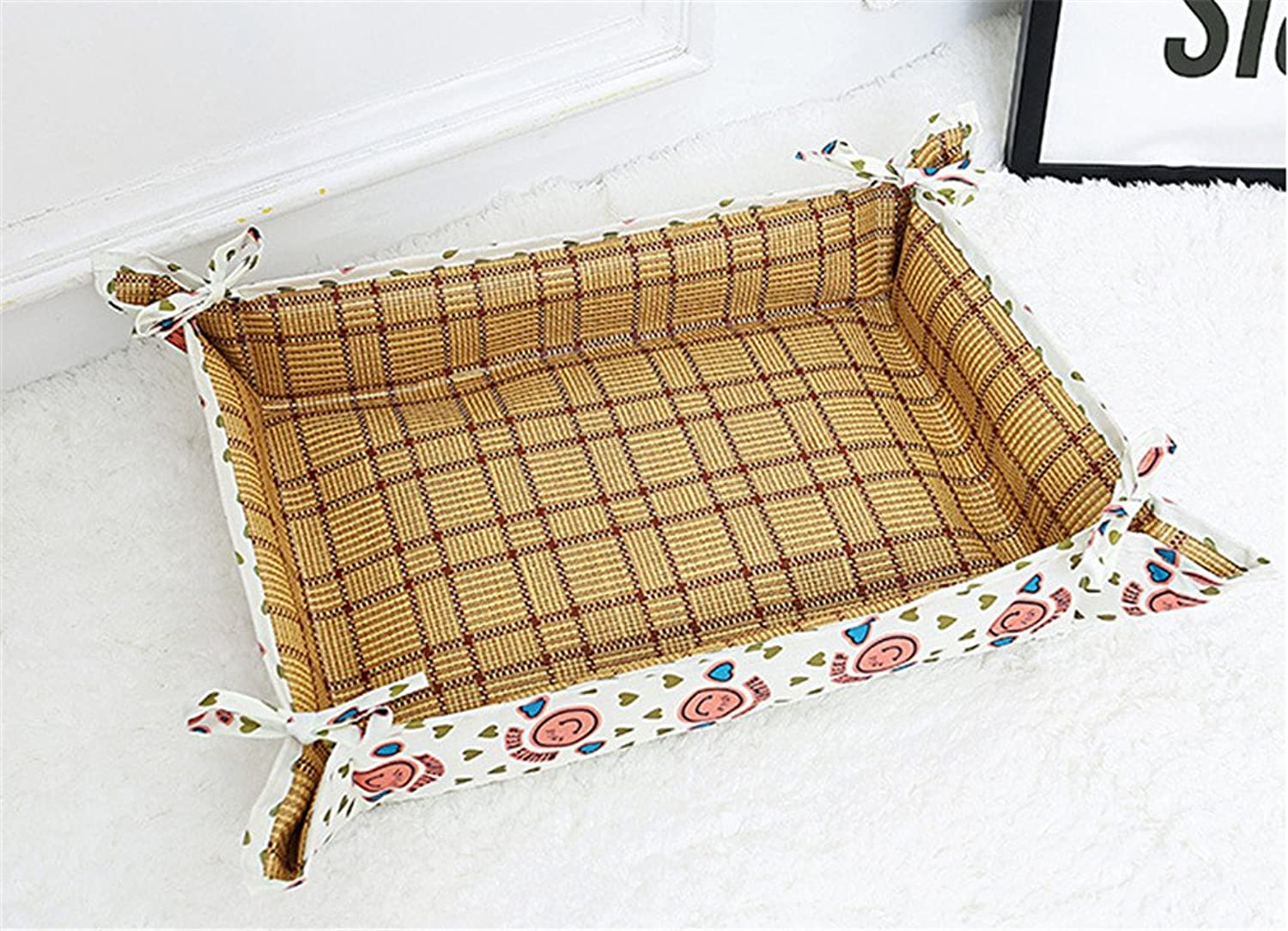New Spring Summer Cuboid Shape Dog Kennel Cat Litter StainResistant Cat Cool Mat,Red,S