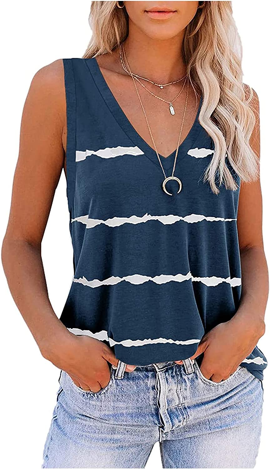 Tops for Women Casual Summer Under 10,Women Tank Tops Womens Cute Printed Vest Tshirt Sleeveless Workout Blouse Casual Summer Tank Top Tunic Tee Blue