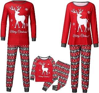POLP Pijama Padres e Hijos Camisa con Estampado de Carta para Hombres Camiseta y Pantalones Traje Pijamas Dos Piezas para Niño Niña Ropa de Dormir Pijama Party Pijama Familiar 2PC