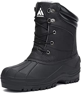 Men's Insulated Waterproof Winter Snow Boots Warm Lined Non Slip Outdoor Cold Weather Work Hiking Boot
