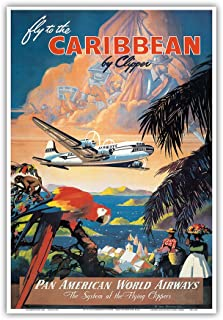 Fly to The Caribbean by Clipper - Pan American World Airways (PAA) - Vintage Airline Travel Poster by Mark Von Arenburg c.1940s - Master Art Print - 13in x 19in