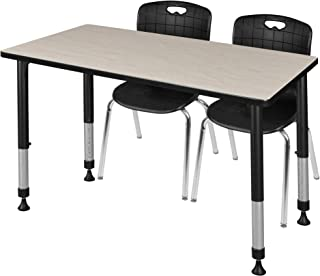 Regency MT4824PLAPBK40BK Kee Height Adjustable Classroom Table Set with Two 18