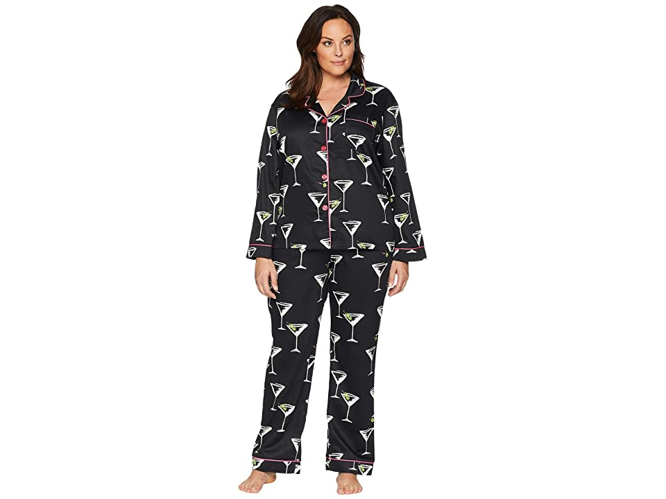 BedHead Plus Size Classic Notch Collar Pajama Set (Cocktail Hour) Women