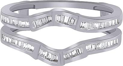 OMEGA JEWELLERY 0.40 Ct Baguette Diamond 14K White Gold Anniversary Wedding Enhancer Wrap Guard Ring