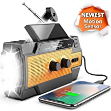 [Upgraded Version] Emergency Radio Hand Crank Solar 4000mAh Portable AM/FM/NOAA Weather Radio with 3 LED Flashlight & Motion Sensor Reading Lamp, Cell Phone Charger, SOS Alarm for Home & Outdoor