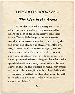 Theodore Roosevelt - The Man In The Arena - 11x14 Unframed Typography Book Page Print - Great Inspirational Gift and Decor for History Buffs Under $15