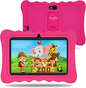Tablet for Kids, 7 Inch Kid Tablets Edition Android 9.0 with WiFi, 2+16GB, Parental Control, Preloaded Learning & Training Apps, Games for 2-8 Years Old and Baby Tablet Cover Kid-Proof Case (Pink)