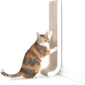 "4CLAWS Wall Mounted Scratching Post 26"" (White) - BASICS Collection Cat Scratcher, 26 x 5.7 x 5.5 in"