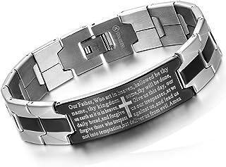 Flongo Men's Vintage Stainless Steel Black Cross English Bible Lords Prayer Link Wrist Bracelet for Men