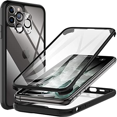 KKM Designed for iPhone 11 Pro Max Case 6.5-inch, with Camera Lens Protector, Shockproof Bumper, Anti-Scratch, Non-Yellowing, 360 Full Body Coverage Protective Tempered Glass Phone Cover - Black