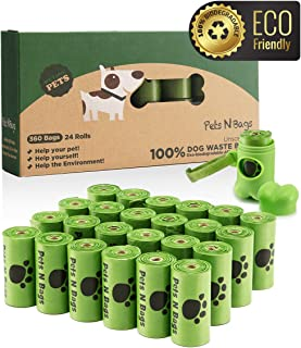 Pets N Bags Dog Poop Bags, Dog Waste Bags, Biodegradable Unscented Refill Rolls, Includes Dispenser