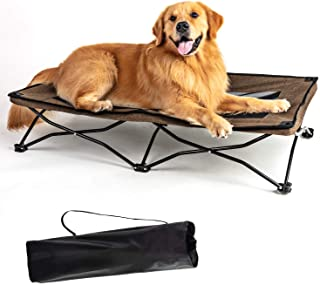 YEP HHO Large Elevated Folding Pet Bed Cot Travel Portable Breathable Cooling Textilene Mesh Sleeping Dog Bed 42 Inches Long (Coffee)