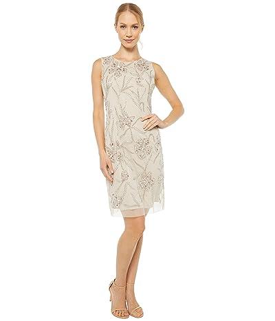 Adrianna Papell Beaded Mini Cocktail Dress (Biscotti) Women