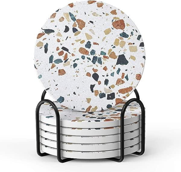 饮料提升器杯垫大理石风格吸水杯垫带支架避免家具被刮伤和弄脏乔迁礼物家居装饰 4 英寸 6 件套