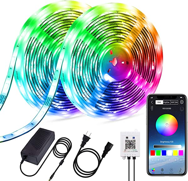 4 FQ Dreamcolor Led Strip Lights Music Bluetooth 10m 32 8ft Multicolor Chasing Effect 300 LEDs Lights Strip Smart Phone APP Control Strip Lights Power Supply Flexible Rainbow Rope Lights Kit Home