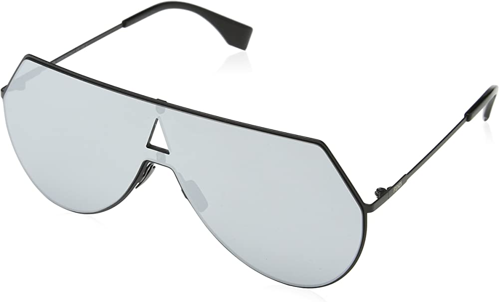 Fendi, occhiali da sole per  donna, montatura in metallo nero e lenti a specchio color argento 0193/S