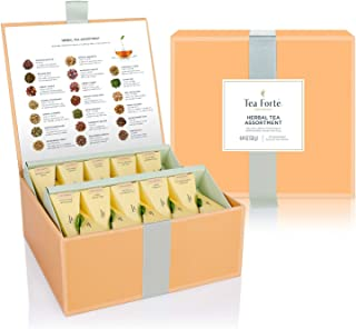 Tea Forte Tea Chest Herbal Tea Assortment with 40 Handcrafted Pyramid Tea Infusers, Chamomile, Chai, Mint and More