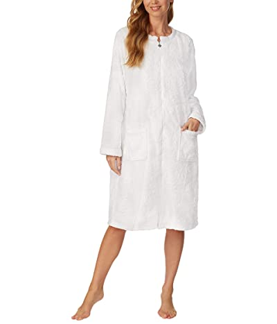 Eileen West Cozy Plush Long Zip Robe (White) Women
