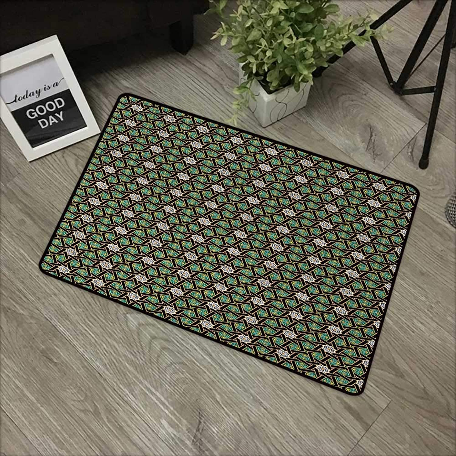 Interior Door mat W35 x L59 INCH Oriental,Traditional Arabesque Pattern with Stripes Ornamental Geometric Design,Fern Green Black Camel with Non-Slip Backing Door Mat Carpet