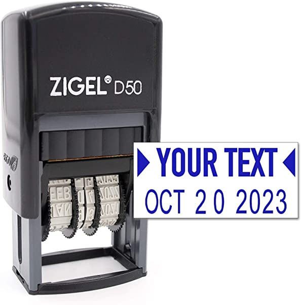 ZIGEL D50 Date Stamp With Your Custom Text Self Inking Date Stamp Blue