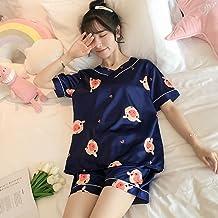 Cloudy Summer Femmes Pyjamas à Manches Courtes Set Mignon Sexy Lingerie Sleepwear Silk Plus Taille Vêtements de Nuit Anima...