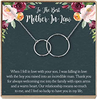 Dear Ava Mother-in-Law Gift Necklace: to My Mother-in-Law, Mother of My Husband, 2 Interlocking Circles