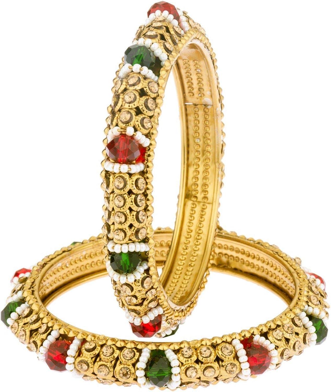 Efulgenz Indian Style Bollywood Traditional Gold Plated Beaded Stone Wedding Bracelet Bangle Set Jewelry