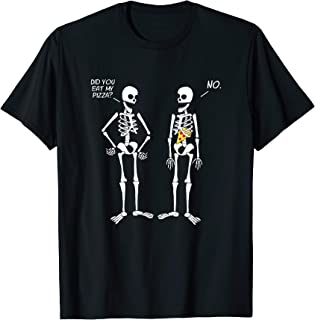 Halloween Skeletons Did You Eat My Pizza? Cute Funny T-Shirt