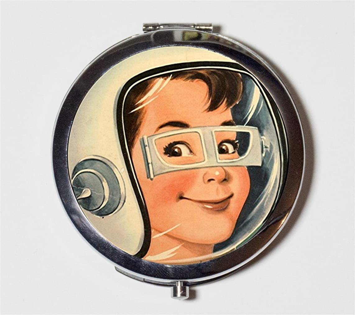 Retro Space Boy Compact Mirror Vintage Astronaut 1950's Kitsch Pocket Size for Makeup Cosmetics