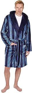 HiA Direct Mens Luxury Stripe Hooded Flannel Fleece Dressing Gown Robe Housecoat Super Soft Sleep Wear Bath Robe with Two ...