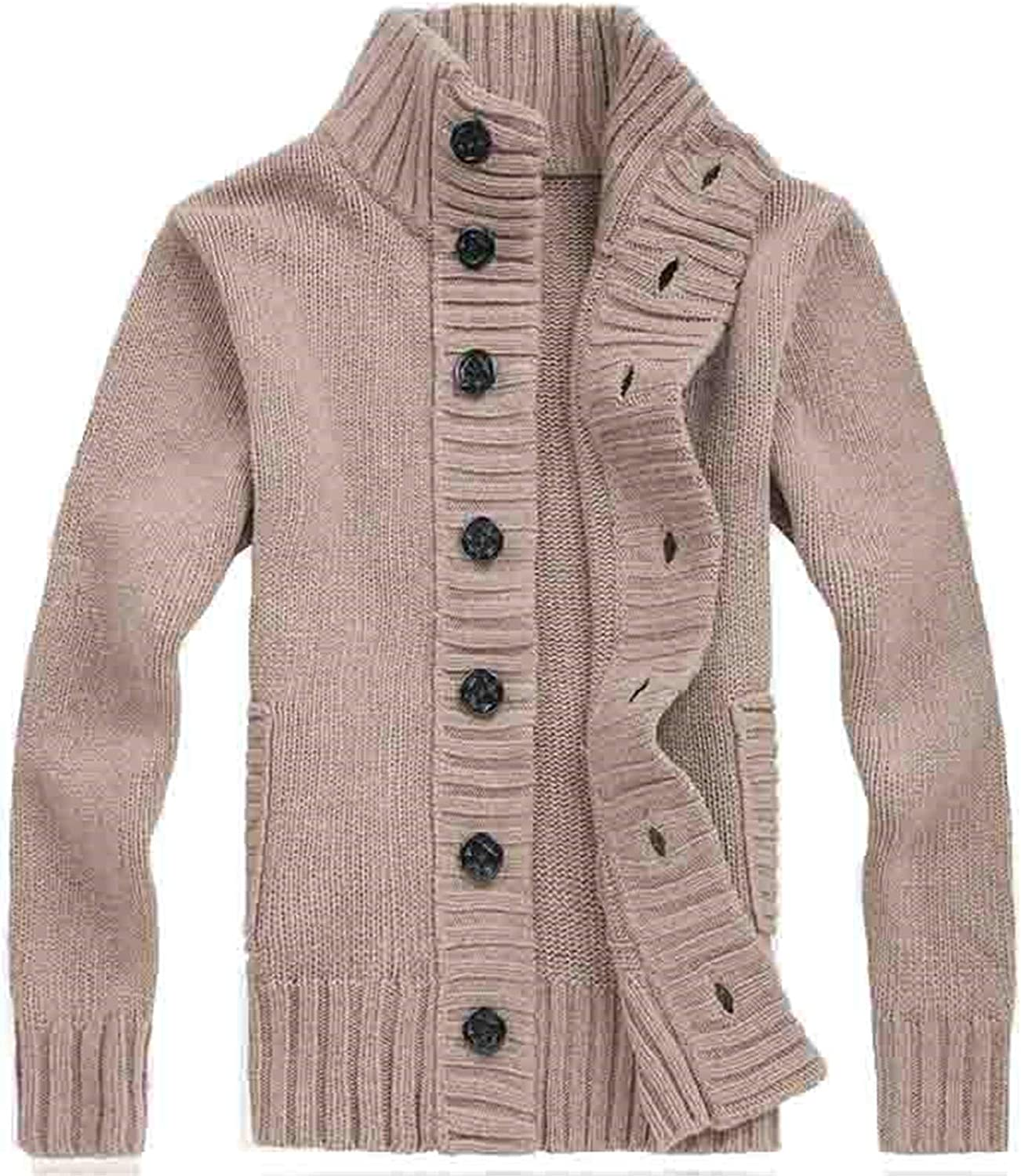 Men Sweater Cardigan Slim Solid Color Thickening Knitted Sweater Warm Korean Sweatercoat Knitwear