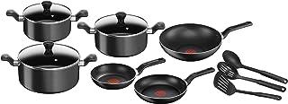 Tefal Super Cook Non-Stick 12 Pcs Cooking Set, Black, Aluminium, B143SC85