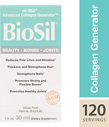 BioSil by Natural Factors, Beauty, Bones, Joints Liquid, Supports Collagen Production for Hair, Skin and Nails, Vegan, 1 fl oz (120 Servings) (FFP)