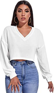 SheIn Women's Pullover Cropped Tshirt Long Sleeve V Neck Casual Crop Tops