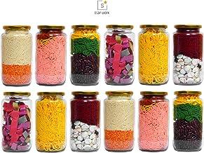 STAR WORK 1000 Gram Glass Jar with Air Tight Gold Lid for Kitchen Dried Masla Storage Jar,Honey Jar,Jar and Container,Spice Masala Jar,Glass,Visible Glass Jar for Kitchen Storage Set of (12)