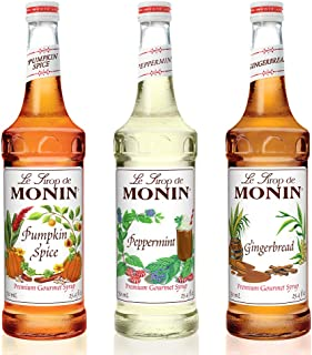 Monin -3 Flavor Holiday Gift Set: Gingerbread,Peppermint and Pumpkin Spice Syrups, Natural Flavors, Great for Cocktails,Cocoas,Mochas and Ciders,Vegan, Non-GMO,Gluten-Free (750 Milliliters per bottle)