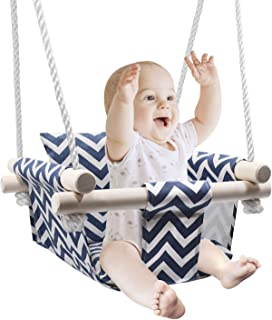 Secure Baby Hanging Swing Seat, Wooden Canvas Baby Swing with Cushion and PE Ropes, Indoor and Outdoor Baby Hammock Chair ...