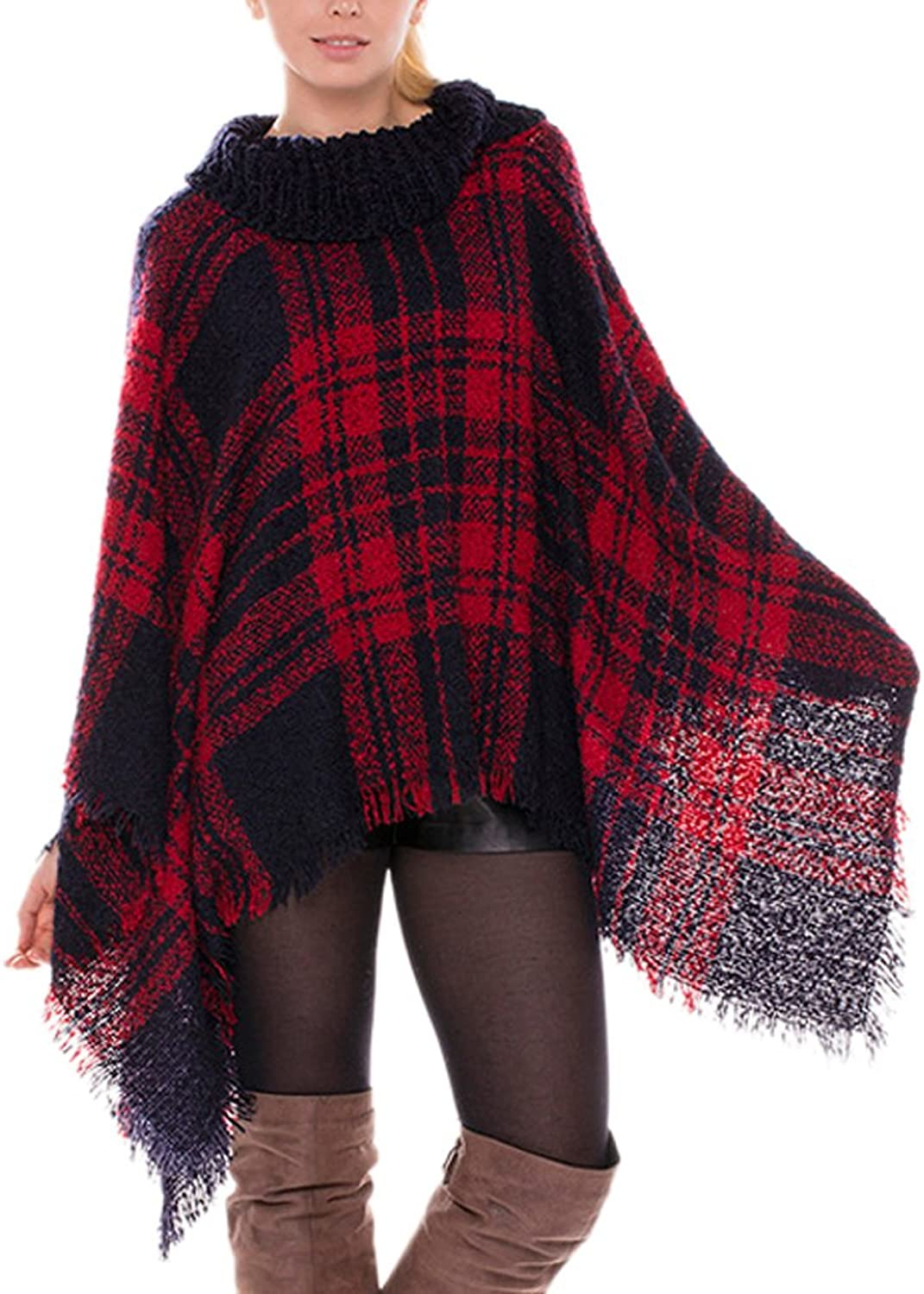 Icegrey Women's Plaid High Collar Knitted Sweater Poncho Shawl Red
